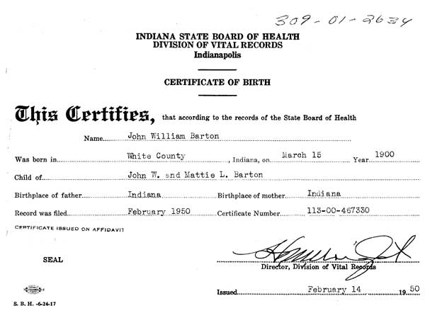 "Documents: Barton, John William ""Jack"": Birth Certificate of ..."